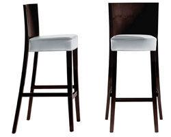 Mobilier - Tabourets de bar - Chaise de bar Neoz / H 75 cm - Assise rembourrée tissu & acajou - Driade - Ebène - Acajou, Tissu