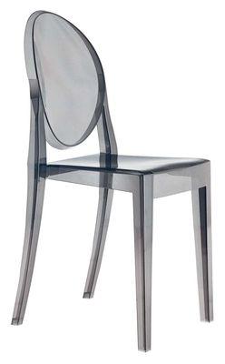 Chaise empilable Victoria Ghost / Polycarbonate 2.0 - Kartell gris en matière plastique