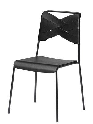 Chaise Torso / Cuir - Design House Stockholm noir en cuir/bois