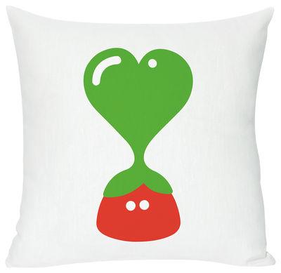 Interni - Per bambini - Cuscino Green heart di Domestic - Green heart - Bianco, verde & rosso - Cotone, Lino