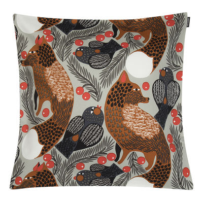 Decoration - Cushions & Poufs - Ketunmarja Cushion cover - / 45 x 45 cm by Marimekko - Ketunmarja / Grey & brown - Cotton
