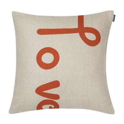 Decoration - Cushions & Poufs - Love Cushion cover - / 40 x 40 cm - Linen by Marimekko - Love / Linen & orange - Linen