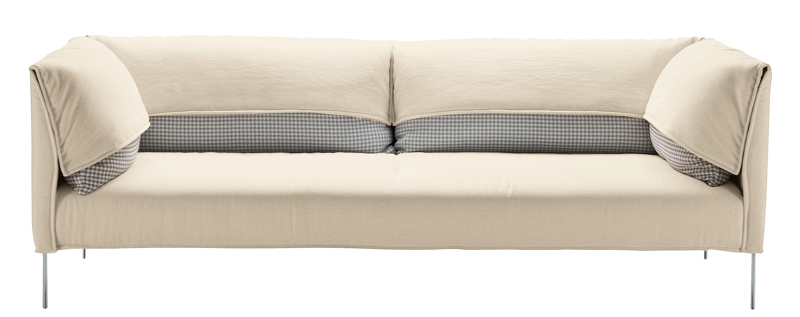 Divano destro undercover zanotta bianco cuscini marrone verde l 187 x h 77 made in design for Cuscini moderni divano