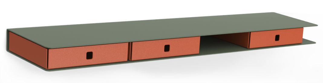Mobilier - Etagères & bibliothèques - Etagère Alizé / 3 tiroirs - L 80 cm - Matière Grise - Kaki / Tiroirs orange - Acier