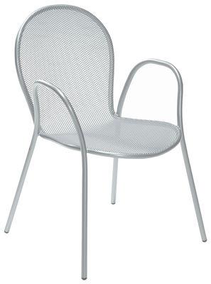 Mobilier - Chaises, fauteuils de salle à manger - Fauteuil empilable Ronda / Métal - Emu - Aluminium - Acier laqué