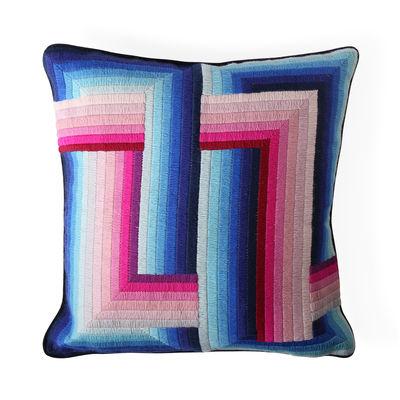 Dekoration - Kissen - Bargello Infinity Kissen / 55 x 55 cm - Handgestickt / Wolle und Velours - Jonathan Adler - 55 x 55 cm / Blau & rosa -  Duvet,  Plumes, Velours, Wolle