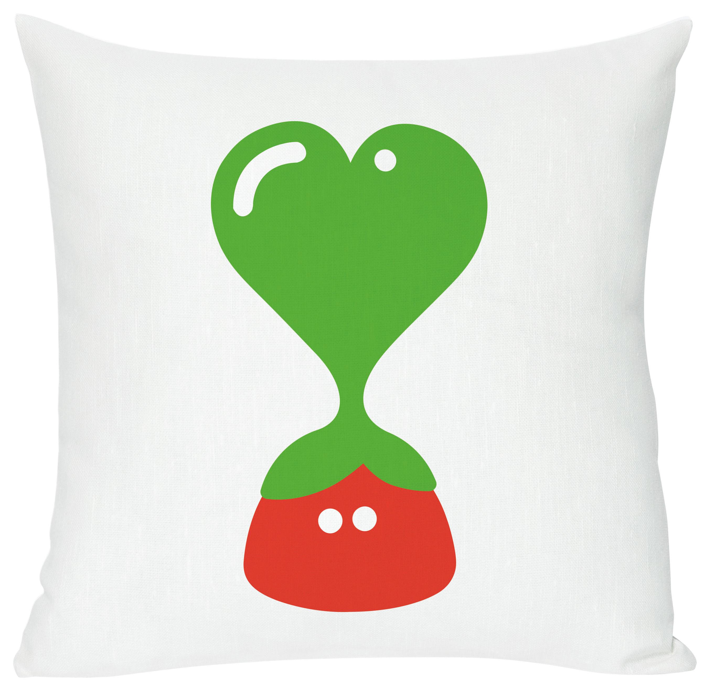 Dekoration - Für Kinder - Green heart Kissen - Domestic - Green heart - weiß, grün und rot - Baumwolle, Leinen