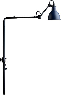 Lighting - Pendant Lighting - N°226 Lamp - For bookshelves - With clamp base by DCW éditions - Lampes Gras - Blue diffuser / Black structure - Steel