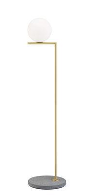 Illuminazione - Lampade da terra - Lampada a stelo IC F1 Outdoor - / H 135 cm - Base pietra di Flos - Ottone / Base lava grigia - Acciaio inossidabile, Pietra lavica, Vetro
