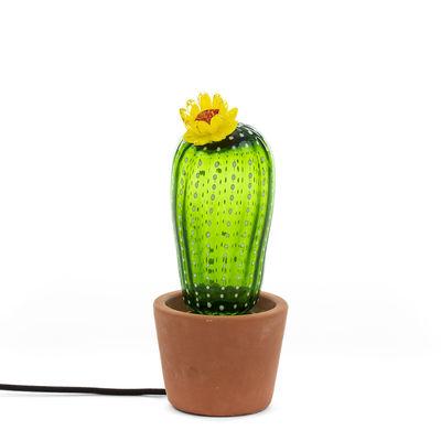 Lampe de table Cactus Sunrise Small / Ciment & verre - H 30 cm - Seletti jaune,vert,terracotta en verre