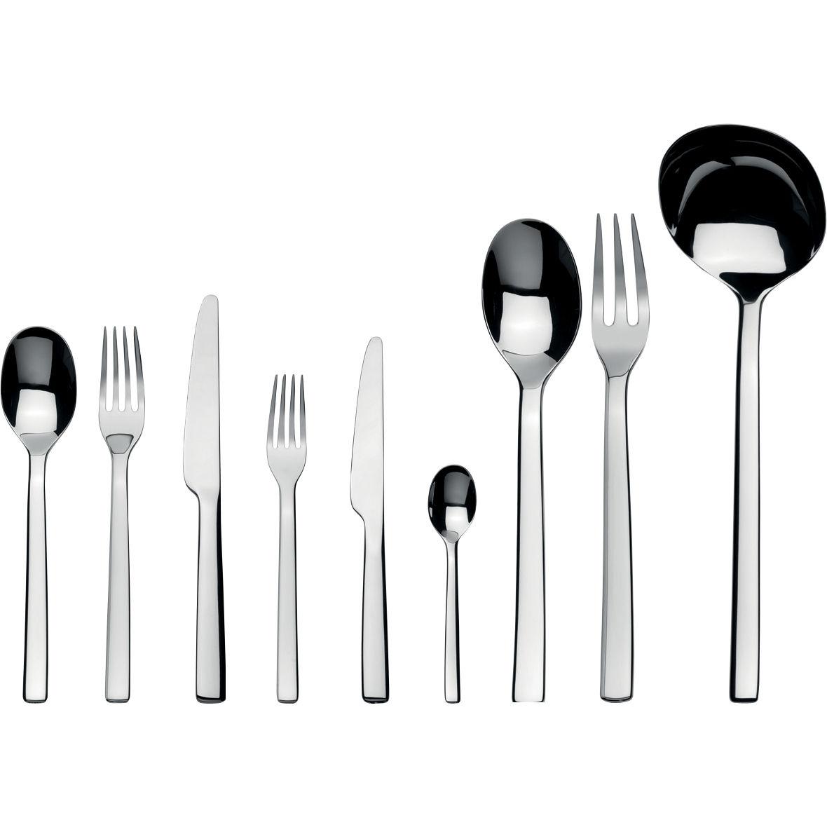 Arts de la table - Couverts de table - Ménagère Ovale / Coffret 75 couverts - Alessi - 75 pièces - Acier inoxydable brillant - Acier