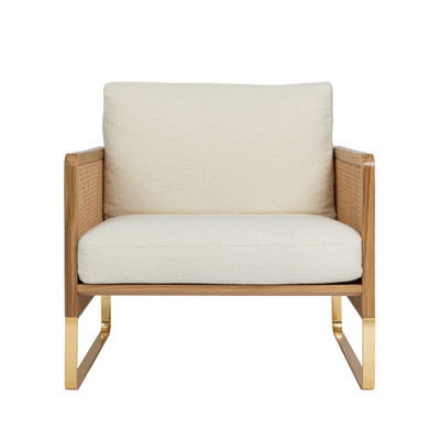 Furniture - Armchairs - Cannage Padded armchair - / Fabric - Oak structure by RED Edition - Sherpas chalk (fabric) / Oak -  Plumes, Fabric, Foam, Lacquered steel, Rattan, Solid oak