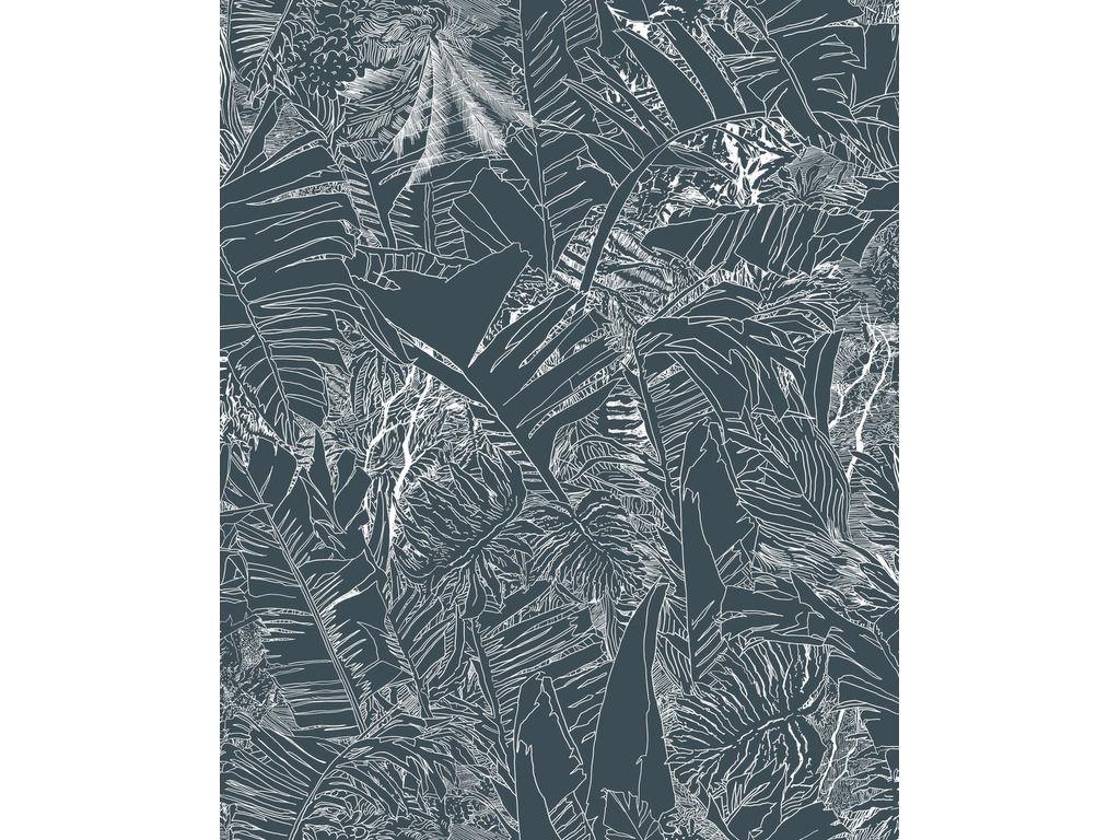 Papier Peint Jungle 1 Rouleau Larg 70 Cm Blanc Fond Noir