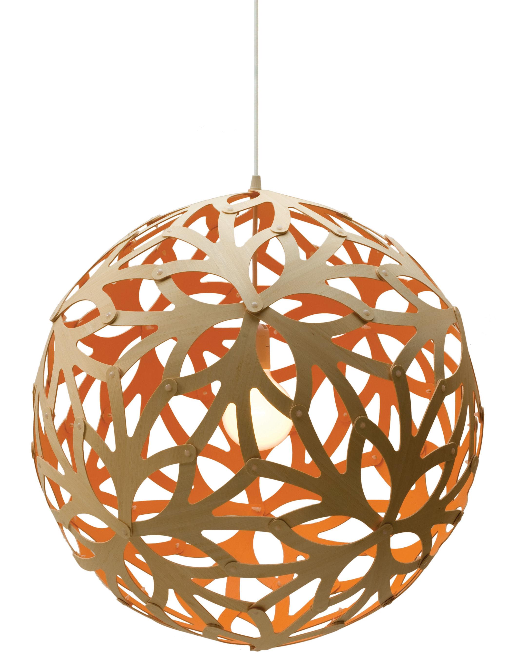 Leuchten - Pendelleuchten - Floral Pendelleuchte Ø 60 cm - Zweifarbig - Exklusiv - David Trubridge - Orange / Holz natur - Kiefer