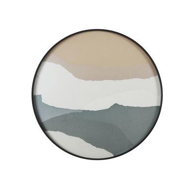 Arts de la table - Plateaux - Plateau Slate Wabi Sabi / Ø 61 cm - Bois & verre peint main - Ethnicraft - Wabi Sabi / Sable, champagne & vert - Bois, Verre sérigraphié
