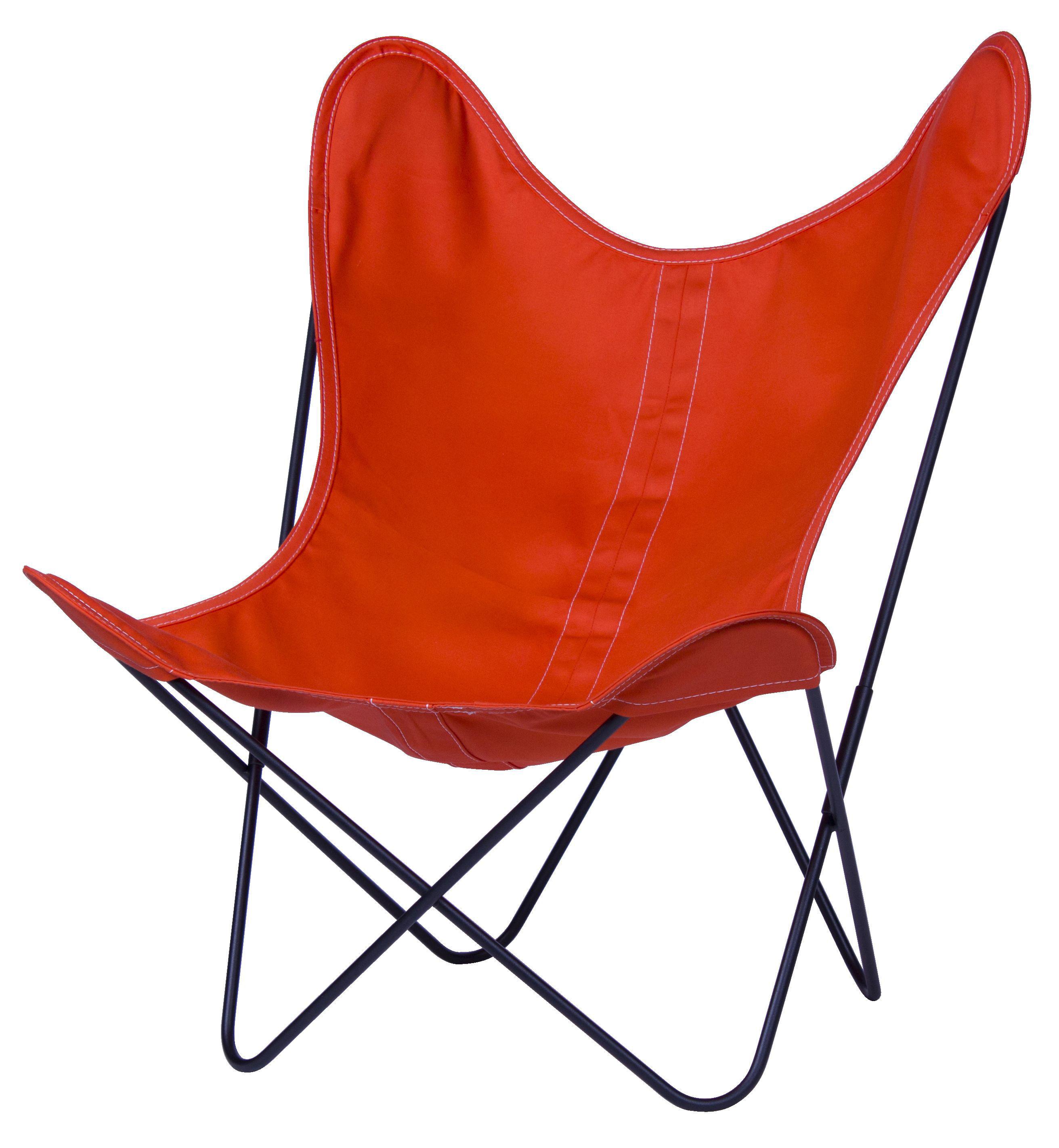 Arredamento - Poltrone design  - Poltrona AA Butterfly di AA-New Design - Struttura nera/Tela mandarino - Acciaio laccato, Tela