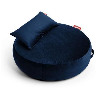 Pouf Pupillow Velvet / Velours - Ø 120 cm - Fatboy Ø 120 - Epaisseur 30 cm bleu foncé en tissu