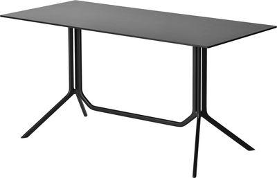 Outdoor - Tische - Poule double rechteckiger Tisch 150 x 70 cm - feste Tischplatte - Kristalia - Laminat schwarz - Aluminium laqué époxy, Press-Spanplatte