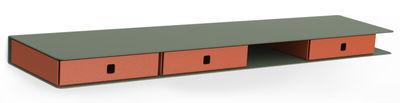 Möbel - Regale und Bücherregale - Alizé Regal / mit 3 Schubladen - L 80 cm - Matière Grise - Khaki / Schubladen orange - Stahl