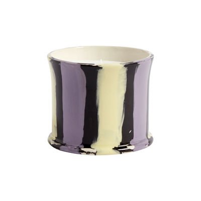 Decoration - Candles & Candle Holders - Stripe Scented Scented candle - / Fig leaf by Hay - Fig tree / Lilac & yellow -  Cire naturelle, Ceramic
