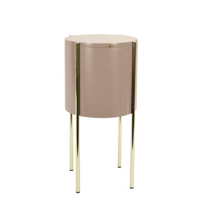 Furniture - Coffee Tables - Embore Small table - / Storage box - Ø 40 x H 60 cm by ENOstudio - Pink / Gold - Lacquered MDF, Steel