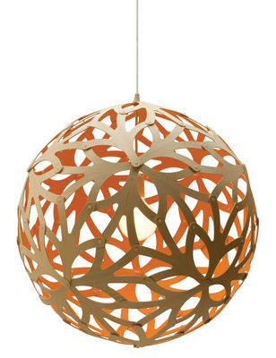 Luminaire - Suspensions - Suspension Floral / Ø 60 cm - Bicolore orange & bois - David Trubridge - Orange / Bois naturel - Pin
