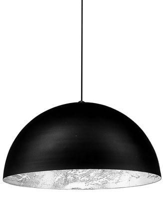 Luminaire - Suspensions - Suspension Stchu-moon 02 / LED - Ø 80 cm - Catellani & Smith - Extérieur noir / Intérieur argent - Aluminium, Feuille argentée, Mousse polyuréthane