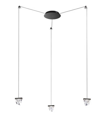 Suspension Tripla LED / 3 éléments cristal - Fabbian transparent en verre