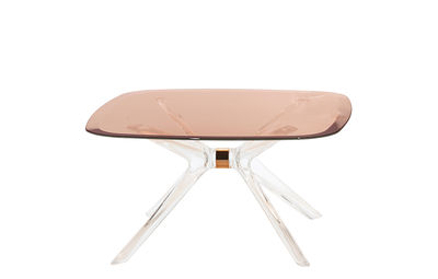 Table basse Blast / Verre - 80 x 80 cm - Kartell rose/transparent en verre/matière plastique