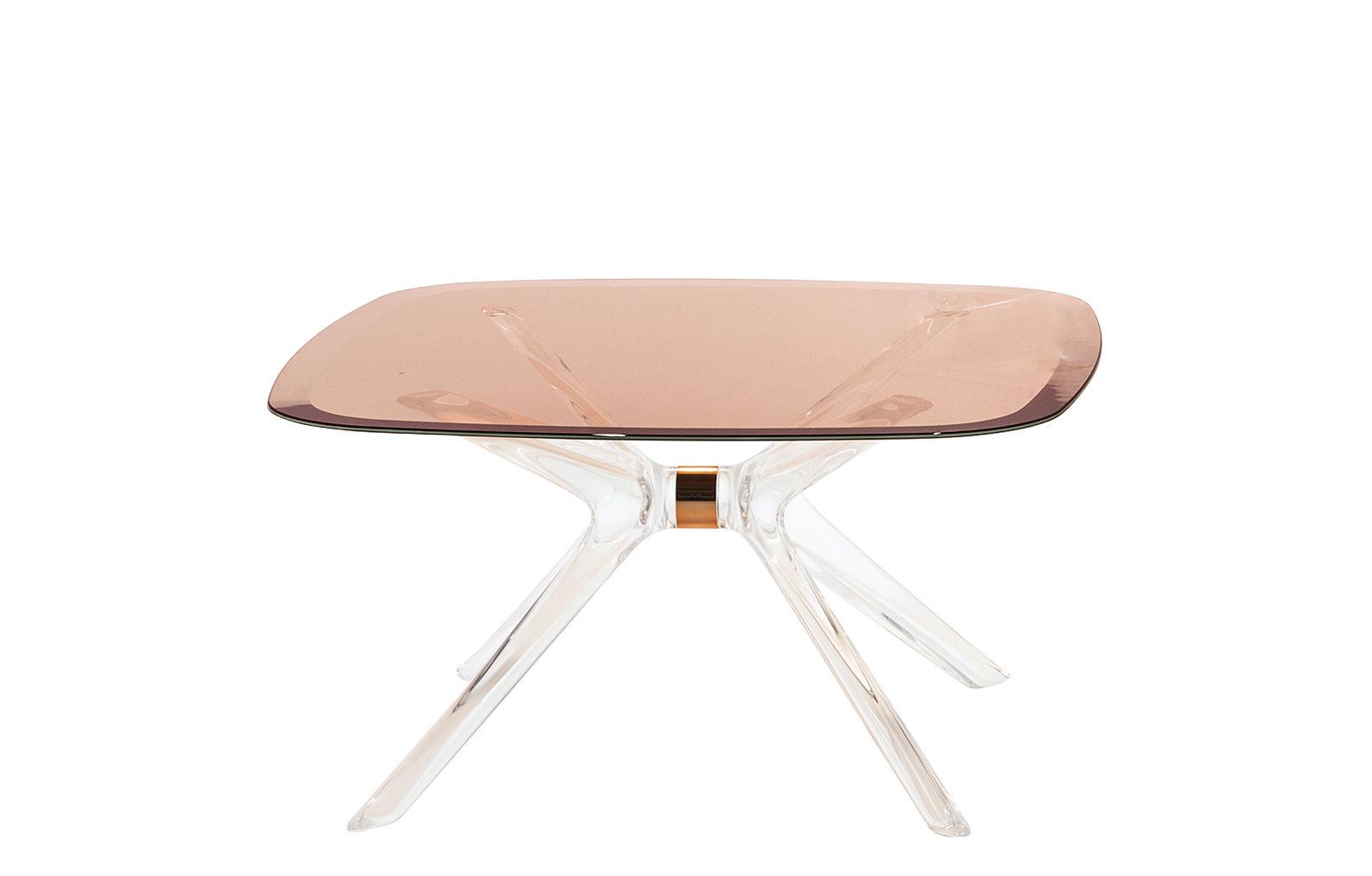 Mobilier - Tables basses - Table basse Blast / Verre - 80 x 80 cm - Kartell - Rose / Transparent - Aluminium, Cristal, Technopolymère thermoplastique
