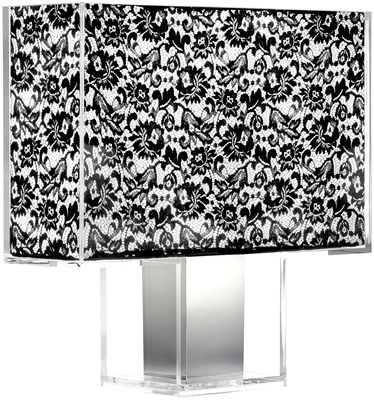 Lighting - Table Lamps - Tatì Table lamp by Kartell - Black lace - Chromed steel, Fabric, Polycarbonate