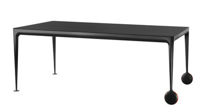 Mobilier - Tables - Table rectangulaire Big Will / 200 x 100 cm - Magis - Plateau noir / Pieds noirs - Caoutchouc, Fonte d'aluminium verni, Verre