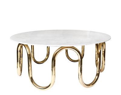 Arredamento - Tavolini  - Tavolino Scalinatella Cocktail - / Marmo & ottone - Ø 100 cm di Jonathan Adler - Marmo bianco / Ottone - Marmo di Carrara, Ottone lucido