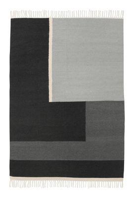 Kelim Section Teppich / L - 200 x 140 cm - Ferm Living - Weiß,Grau,Schwarz