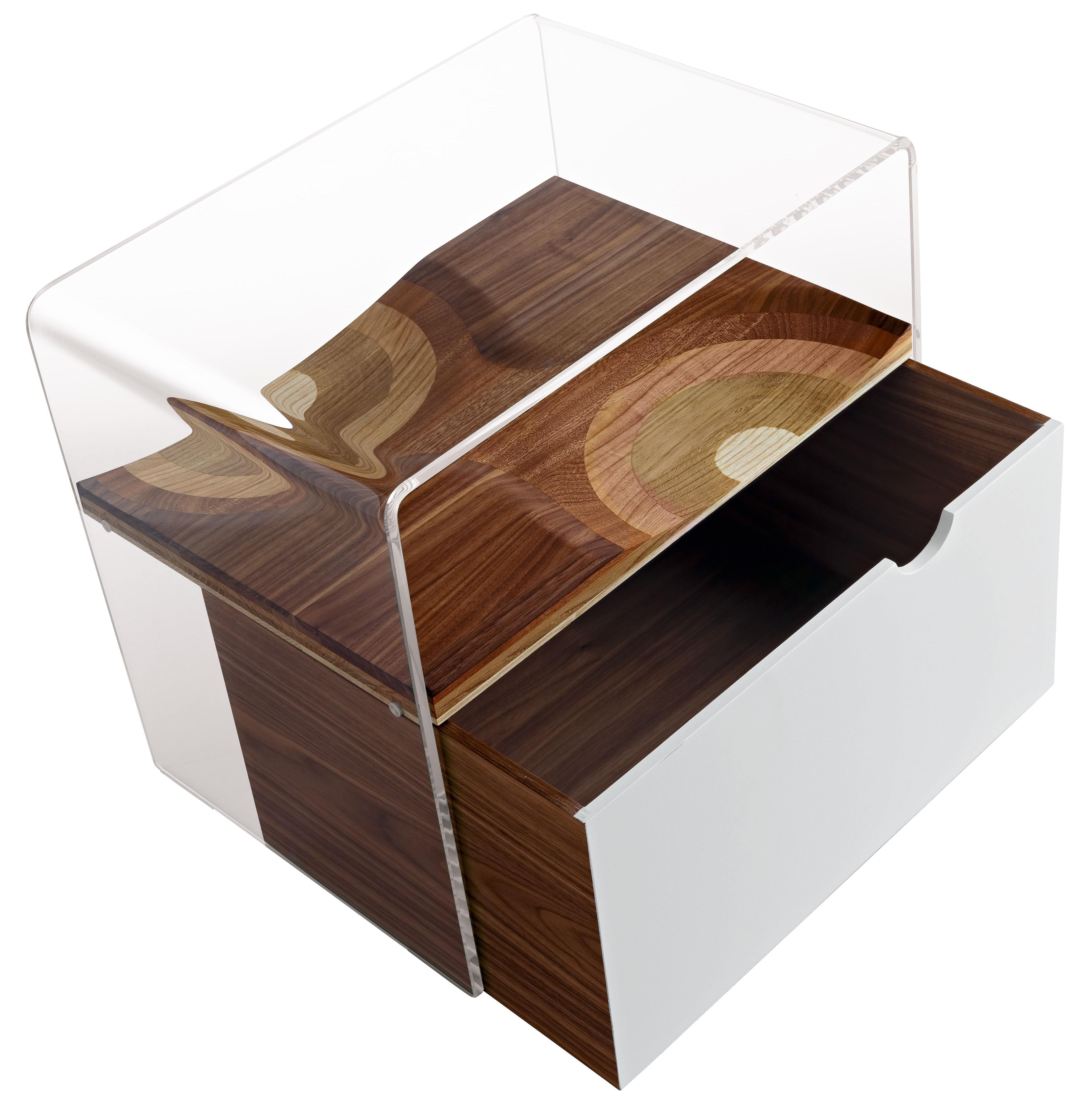 Mobilier - Meubles de rangement - Tiroir pour chevet Bifronte - Horm - Noyer / Blanc - Laminé de bois
