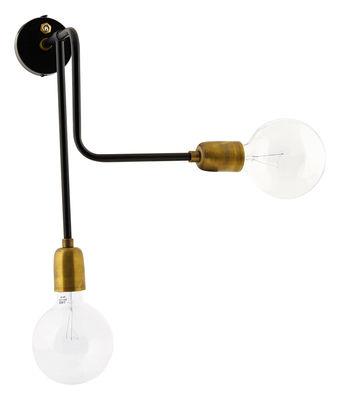 Luminaire - Appliques - Applique avec prise Molecular / Branchement secteur - House Doctor - Structure noire / Douilles laiton - Fer laqué, Laiton brossé