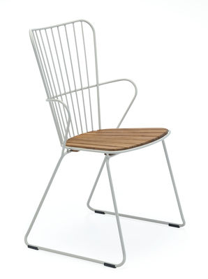 Furniture - Chairs - Paon Armchair - / Metal & bamboo by Houe - Armchair / Taupe - Acier revêtement poudre, Bamboo