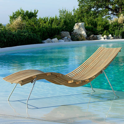 Jardin - Bains de soleil, chaises longues et hamacs - Bain de soleil Swing / Avec support acier - Unopiu - Teck / Support acier - Acier inoxydable, Teck