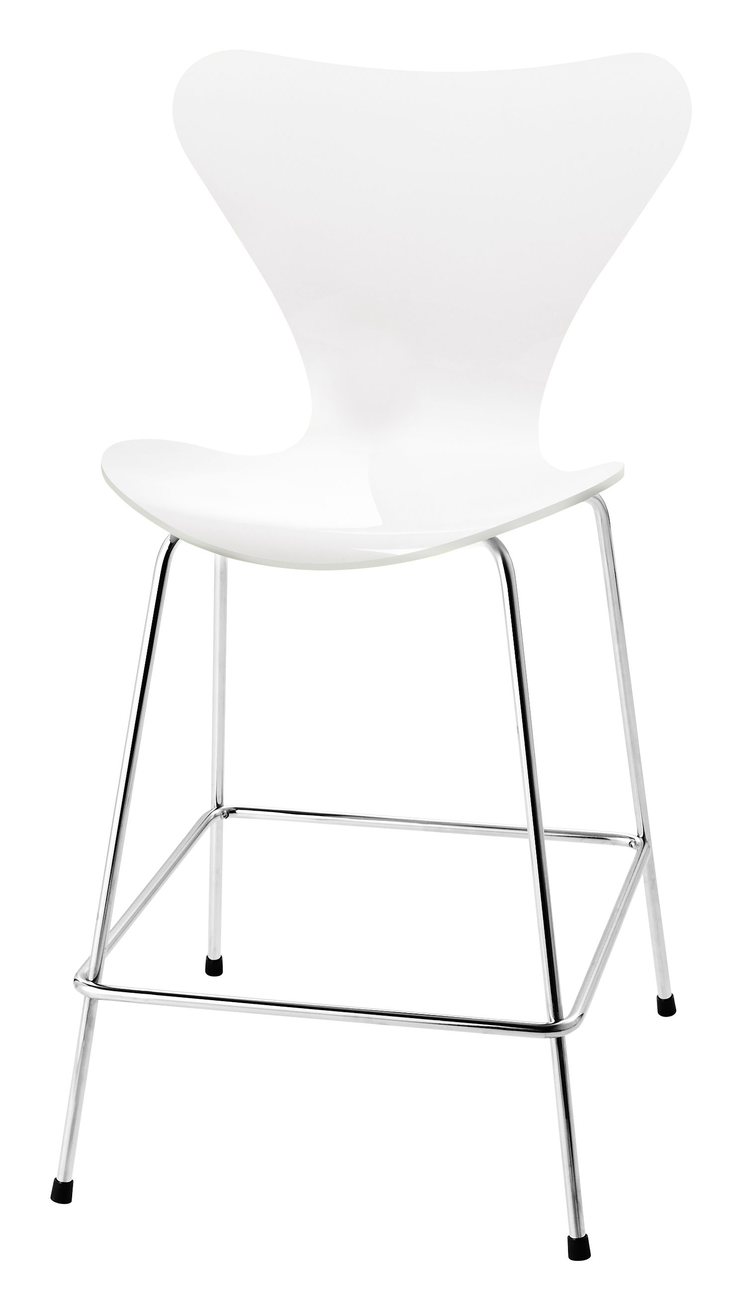 Furniture - Bar Stools - Série 7 Bar chair - H 76 cm - Lacqured wood by Fritz Hansen - White lacquered - Lacquered plywood, Steel
