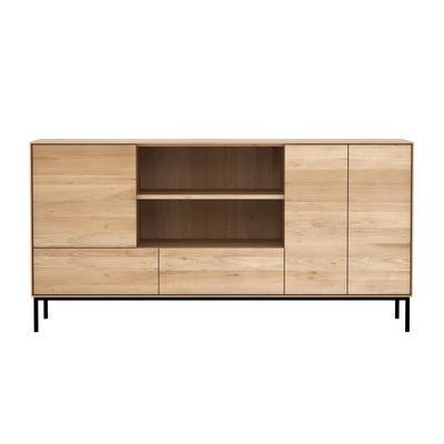 Buffet Whitebird / Chêne massif - L 180 cm / 3 portes + 2 tiroirs - Ethnicraft noir/bois naturel en bois