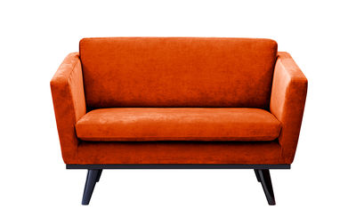 Canapé droit / L 120 cm - Velours - RED Edition noir,orange fox en tissu
