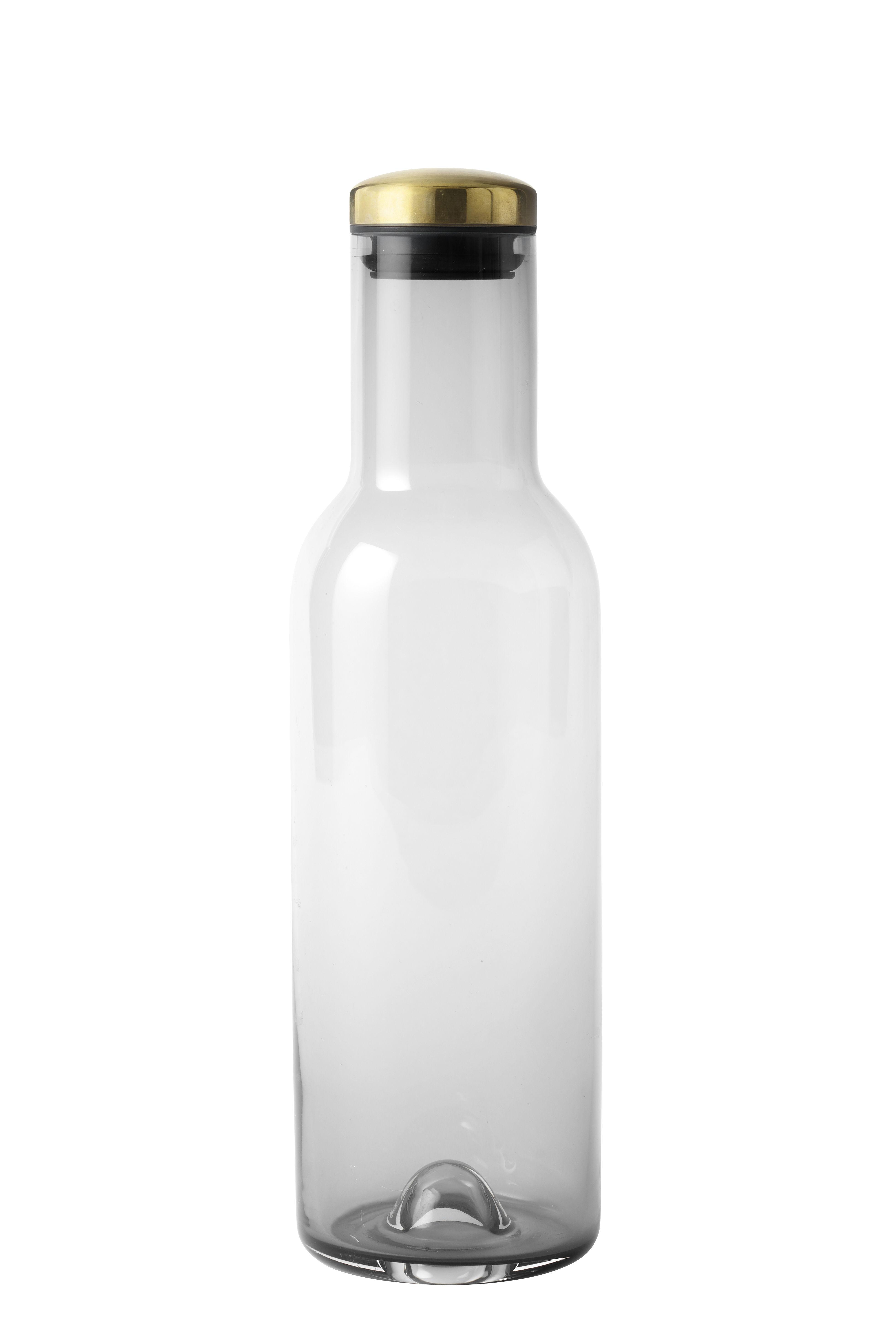 Arts de la table - Carafes et décanteurs - Carafe Bottle / 1 Litre - Bouchon laiton - Menu - Gris fumé / Laiton - Laiton, Silicone, Verre