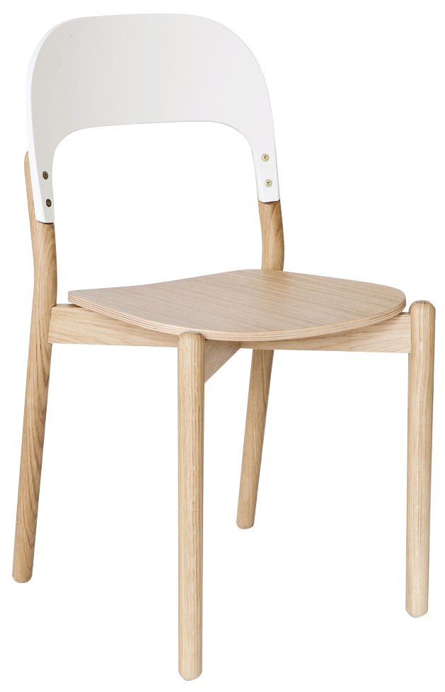 Furniture - Chairs - Paula Chair - Oak by Hartô - Oak / White backrest - Painted MDF, Solid oak