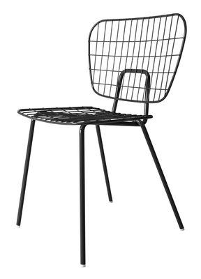 Chaise WM String Acier Menu noir en métal