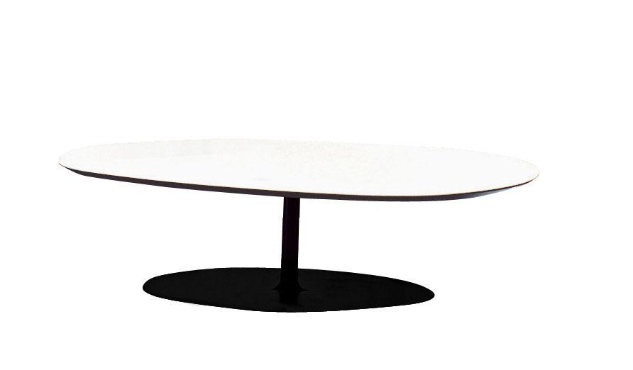 Möbel - Couchtische - T-Phoenix Couchtisch Kleine Platte - Moroso - Weiß - H 27 cm - gefirnister Stahl, Holzfaserplatte