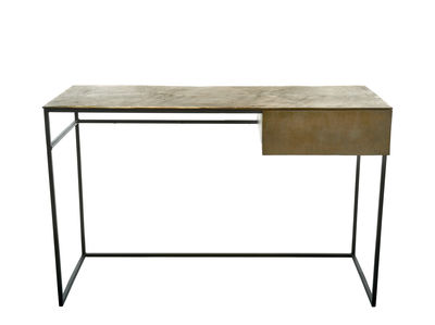 Furniture - Office Furniture - Antique shine Desk - / Console table - L 120 cm by Pols Potten - Antique brass / Black legs - Antique brass finish metal, Fer époxy