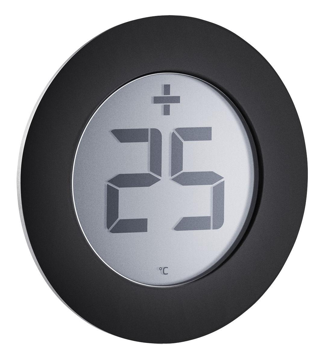 Outdoor - Deko-Accessoires für den Garten - Digital Thermometer / selbstklebend - für die Fensterscheibe - Eva Solo - Stahl & schwarz - Stahl, Thermoplastique