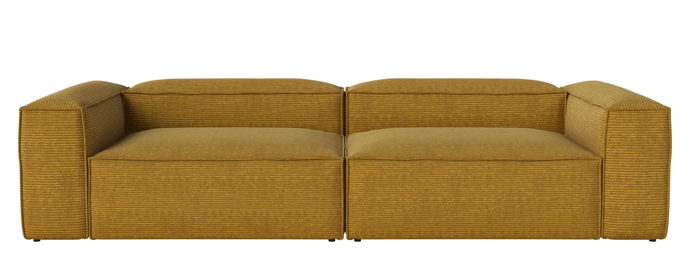 Arredamento - Divani moderni - Divano modulabile Cosima - Tessuto / 2 moduli - grande angolo - L 300 cm di Bolia - Giallo curry - Schiuma fredda, Tessuto Global