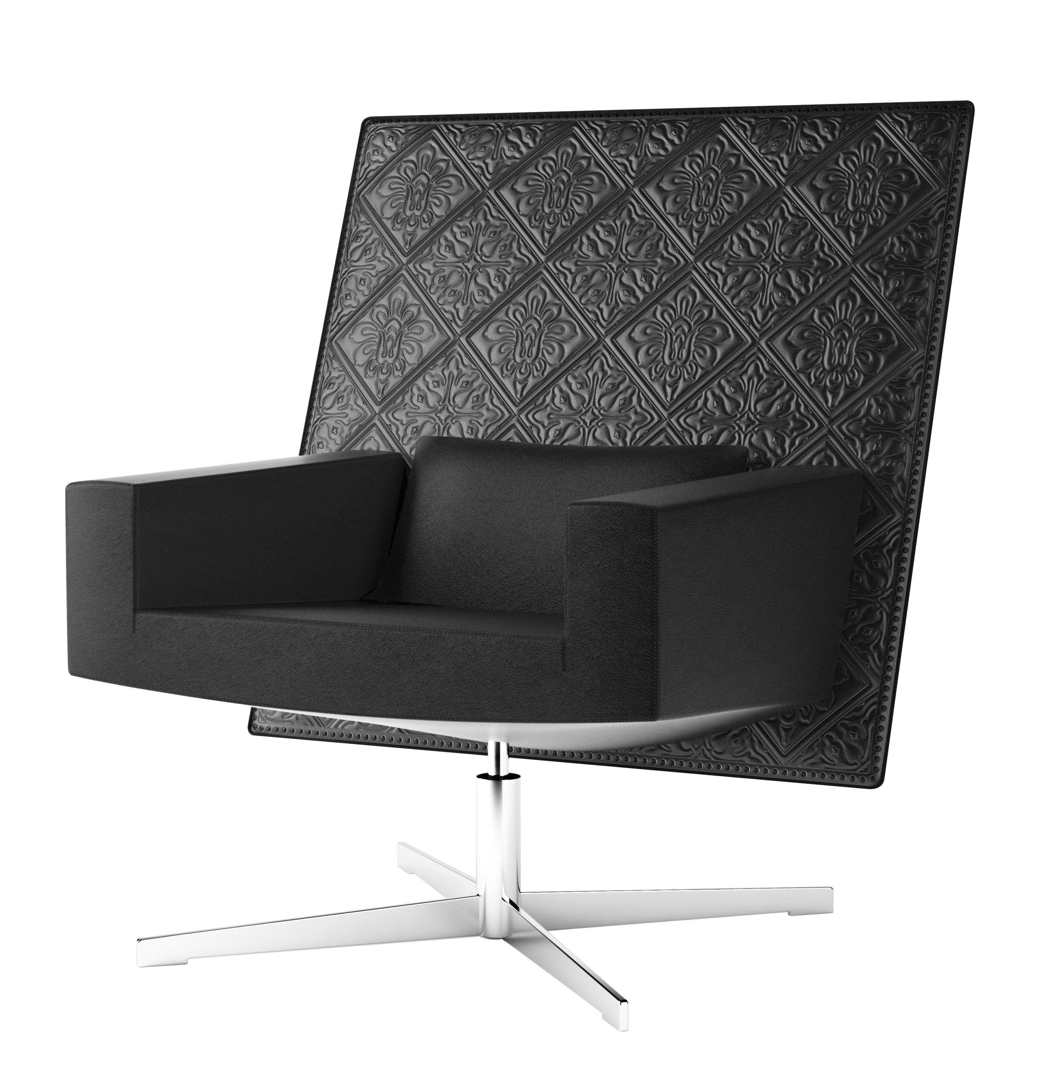 Möbel - Lounge Sessel - Jackson Chair Drehsessel / besticktes Leder - Moooi - Leder / schwarz - Leder, polierter Stahl, Schaumstoff