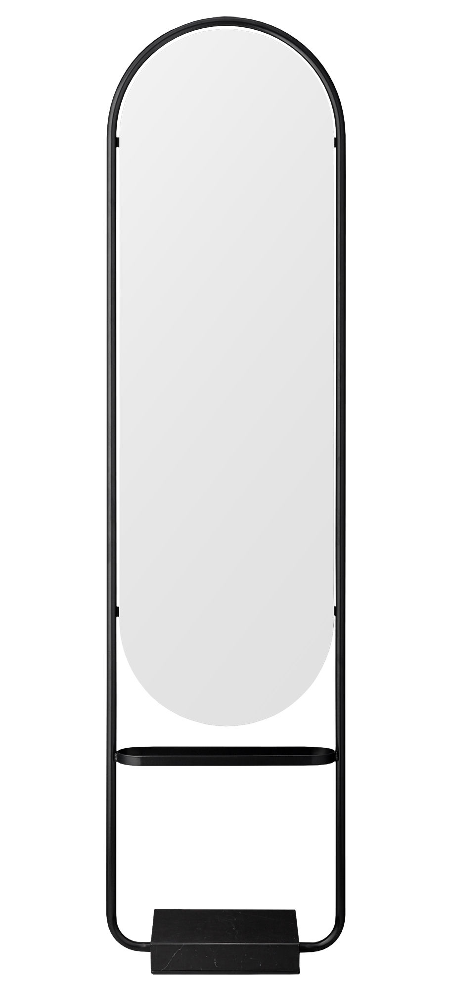 Decoration - Mirrors - Angui Free standing mirrors - / Marbre & fer - H 180 cm by AYTM - Anthracite - Glass, Lacquered iron, Marble